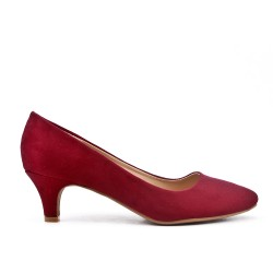 Escarpin bordeaux en simili daim à talon