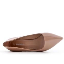 Biege patent leather heels
