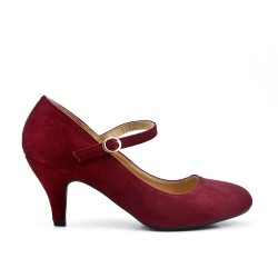 Red wine suede leather pumps with heels