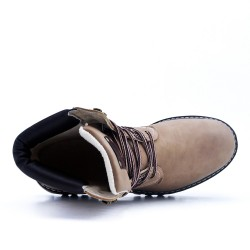 Taupe lace up shoe with visible seam