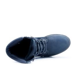 Zapato con cordones negro con costura visible