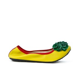 Ballerine jaune et rouge confort en grande taille