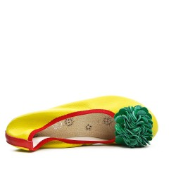 Yellow comfort ballerina with green flower pattern