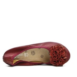 Red wine comfort ballerina with flower pattern