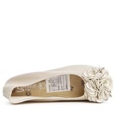 Ballerine confort blanc à motif fleur