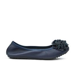 Ballerine confort bleu marine à motif fleur