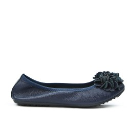 Navy comfort ballerina with flower pattern