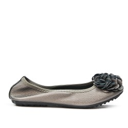 Ballerine confort gris à motif fleur