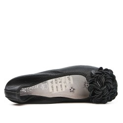 Ballerine confort noire à motif fleur