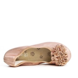Champagne comfort ballerina with flower pattern