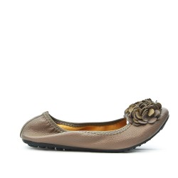 Taupe comfort ballerina with flower pattern
