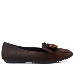 Big size 39-43 - Brown loafer with pompom