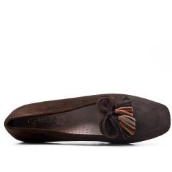 Grande taille 39-43 - Mocassin marron à pompon
