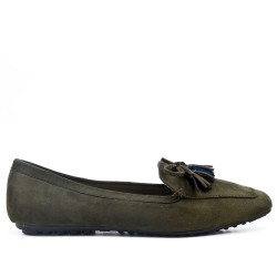 Big size 39-43 - Green loafer with pompom