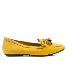 Big size 39-43 - Yellow loafer with pompom