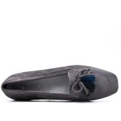 Grande taille 39-43 - Mocassin gris à pompon
