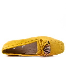 Grande taille 39-43 - Mocassin jaune à pompon