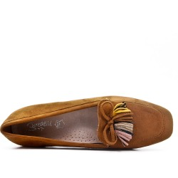 Big size 39-43 - Camel loafer with pompom