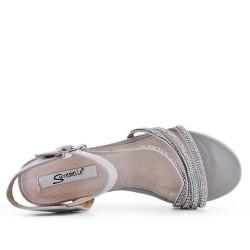 Grande taille 38-43 - Sandale grise ornée de strass
