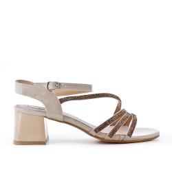 Grande taille 38-43 - Sandale beige ornée de strass