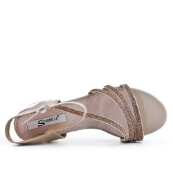 Big size 38-43 - Beige sandal with rhinestones