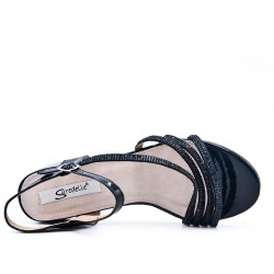 Big size 38-43 - Black sandal with rhinestones