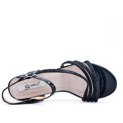 Grande taille 38-43 - Sandale noire ornée de strass