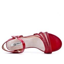 Grande taille 38-43 - Sandale rouge ornée de strass