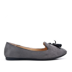 Big size 38-43 - Gray loafer with pompom