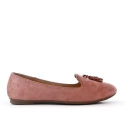 Big size 38-43 - Pink loafer with pompom