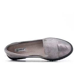 Big size 38-43 - Gray moccasin in faux suede