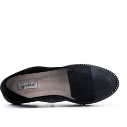 Big size 38-43 - Black moccasin in faux suede