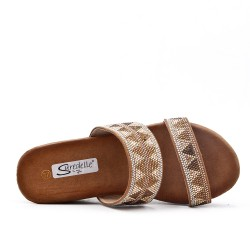 Large size 38-43 - Golden wedge trim with rhinestones