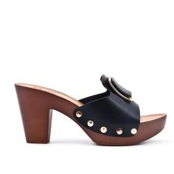 Big size 38-43 - Black sling with heel