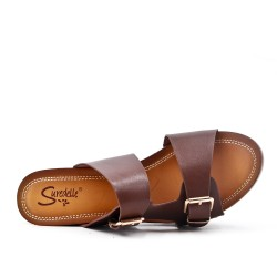 Grande taille 38-43 - Claquette marron en simili cuir à boucle