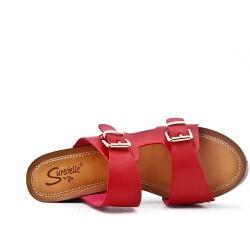 Grande taille 38-43 - Claquette rouge en simili cuir à boucle