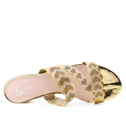 Big size 38-43 - Golden slate adorned with rhinestones