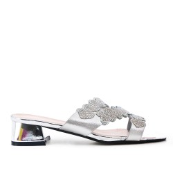 Large size 38-43 - Silver slider decorated with rhinestones