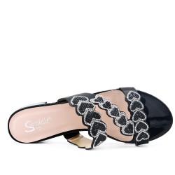 Big size 38-43 - Black slate decorated with rhinestones