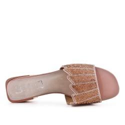 Grande taille 38-43 - Claquette rose en simili cuir ornée de strass