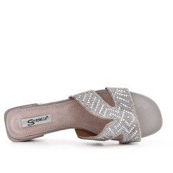 Big size 38-43 - Gray slate decorated with rhinestones