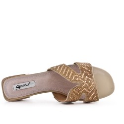 Big size 38-43 - Beige slate decorated with rhinestones