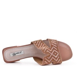Big size 38-43 - Pink slate decorated with rhinestones