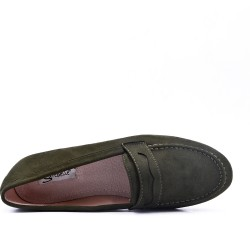 Size 37-42 - Green moccasin in faux suede
