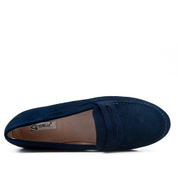 Taille 37-42 - Mocassin bleu marine en simili daim
