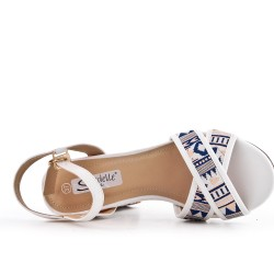 White sandal with heel