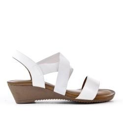 Sandale compensée blanche à semelle confort