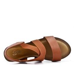 Sandale compensée camel à semelle confort