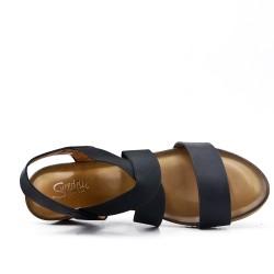 Sandale compensée noire à semelle confort