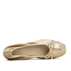 Beige ballerina with star pattern in large size